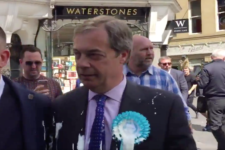 Watch: Nigel Farage hit by milkshake