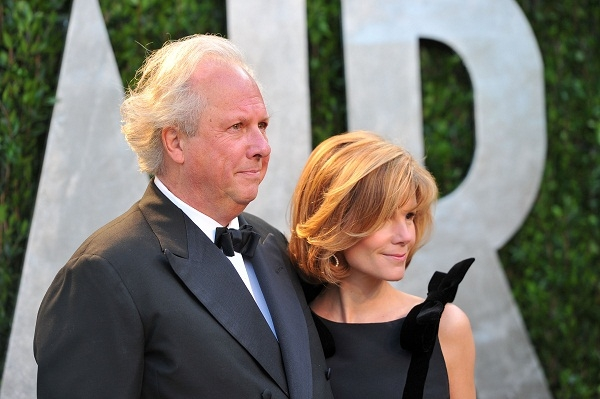 Graydon Carter and Anna Scott at this year's Vanity Fair Oscars party. Image: Getty
