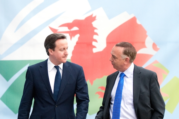 David Cameron and then leader of the Welsh Conservatives Nick Bourne in 2011. Image: Getty