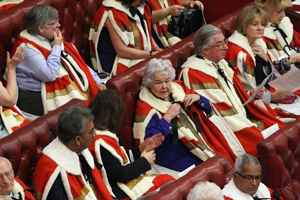 Peers wait in the Chamber of the House o