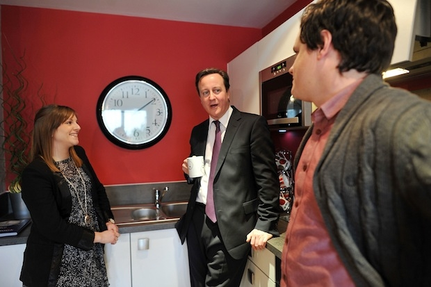 David Cameron with some potential Tory voters. Image: Getty