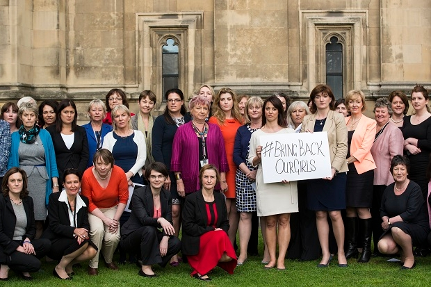 Cross-party MPs gather outside the Houses of Parliament on May 13, 2014 in London for a photocall to show their support for a group of abducted Nigerian Schoolgirls. Not much has happened since, has it? (Photo by Dan Kitwood/Getty Images)