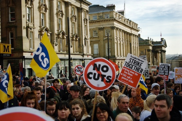 Protesters marching against cuts in Newcastle. Photo: PA.