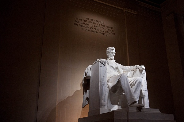 We look at Lincoln through glass that is dark in places and rose-tinted in others. 'Truth' is elusive in such light. Image: Getty