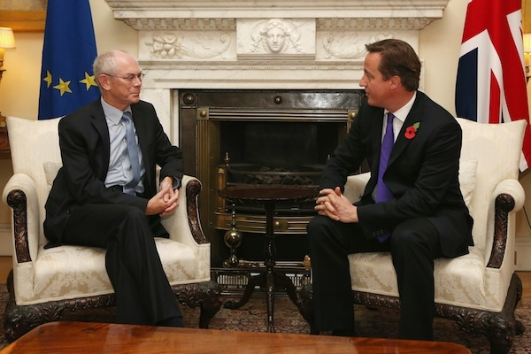 David Cameron astonishes Herman van Rompuy by setting out an already well-reported position on the EU budget. Picture: Getty
