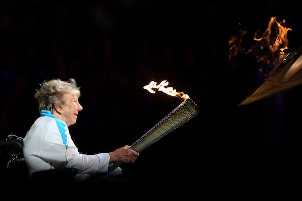 Margaret Maughan lights the cauldron to mark the start of the Paralympic Games. Picture: Getty.