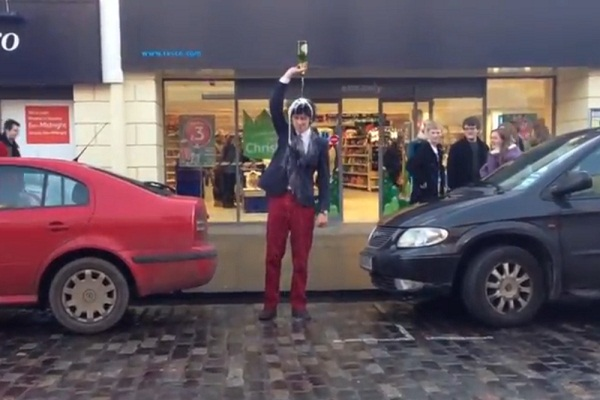 'Champagning' at St. Andrew's University, taken from the video below.