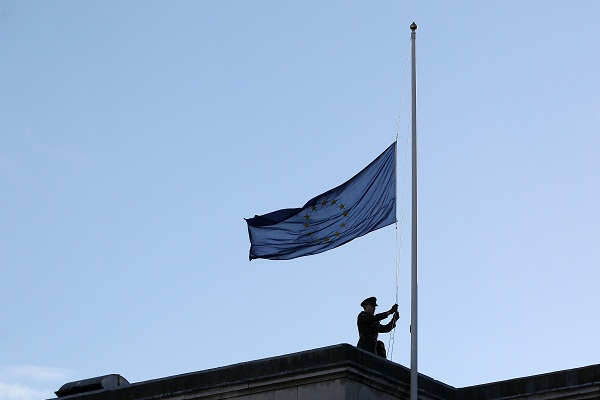 Surely it is time to lower the flag of the corrupt EU in these islands? Image: Getty