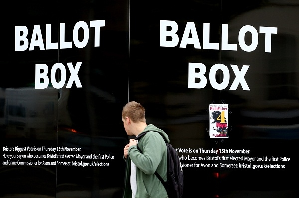 An election advertisement in Bristol. Image: Getty