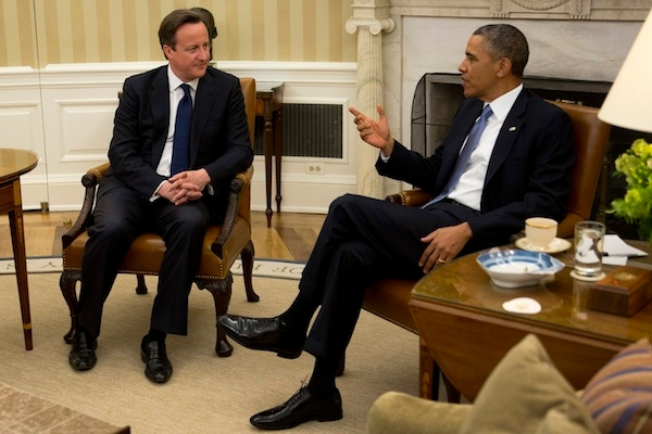 Obama and Cameron in the Oval Office today. Picture: Getty