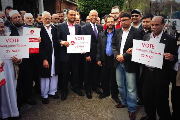 Lutfur Rahman and members of Tower Hamlets First this afternoon.