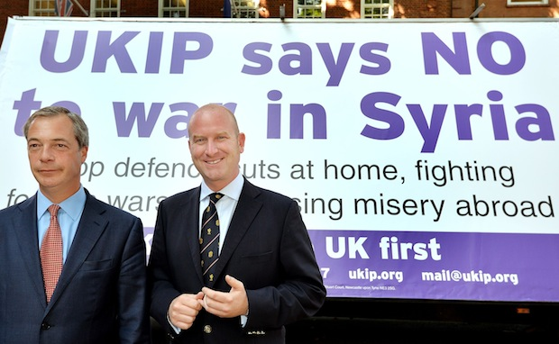 Paul Nuttall with Nigel Farage. Picture: PA