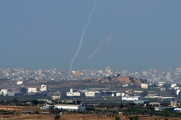A rocket is launched by Gazan terrorists at Sderot in Israel last Sunday. Image: Getty