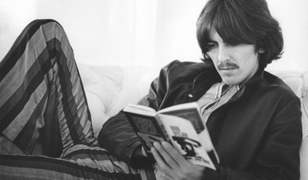 george_harrison-reading-striped-pants-lounging1