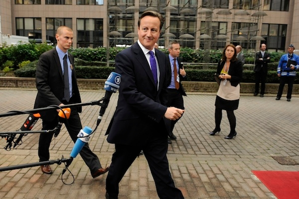 David Cameron speaks to reporters as he arrives in Brussels for the European Council meeting. Picture: Getty