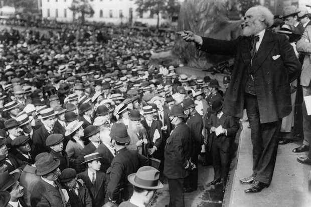 Scottish Labour politician James Keir Hardie addresses a peace meeting in Trafalgar Square in 1914 (Photo: Hulton Archive/Getty)