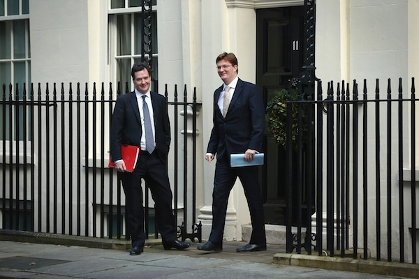 George Osborne and Danny Alexander in Downing Street today. Picture: Getty