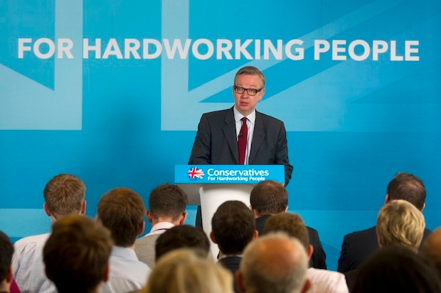 Michael Gove giving his speech at CCHQ this morning. Photo: PA.