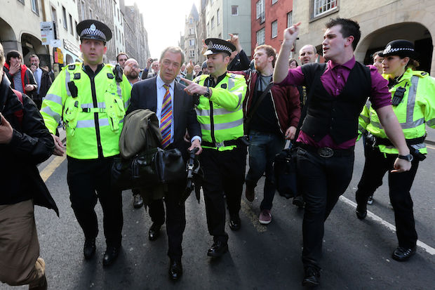 A warm welcome for Nigel Farage on a campaign visit to Edinburgh. Image: PA