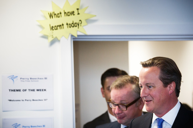 David Cameron and Michael Gove visiting Perry Beaches III Free School in Birmingham in September 2013. Image: Paul Rogers - WPA Pool/Getty Images