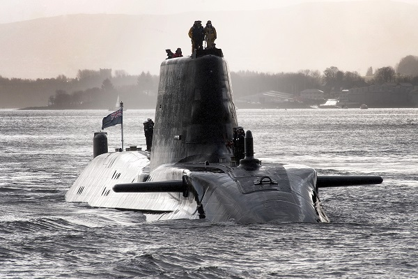 HMS Astute sails up Gareloch on the Firth of Cylde to her base at Faslane. (Andy Buchanan/AFP/Getty Images)