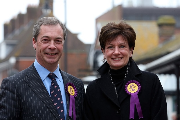 Diane James and Nigel Farage in Eastleigh last year. (Image: Getty)