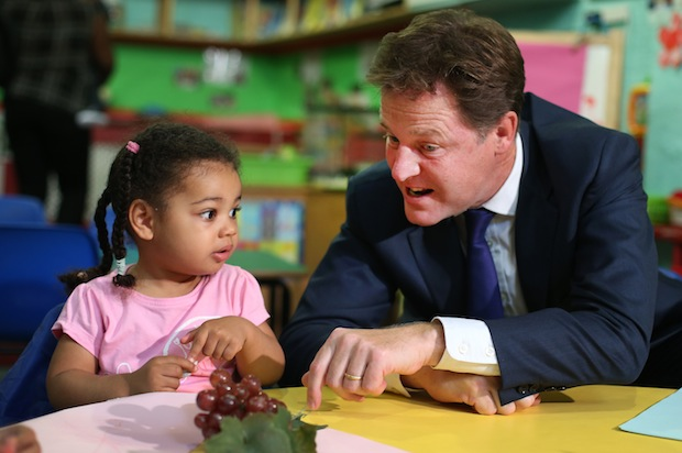 Nick Clegg Visits A Nursery To Promote Free Childcare