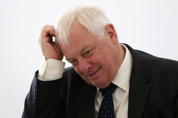 'Dripping wet' Chris Patten. Image: Getty