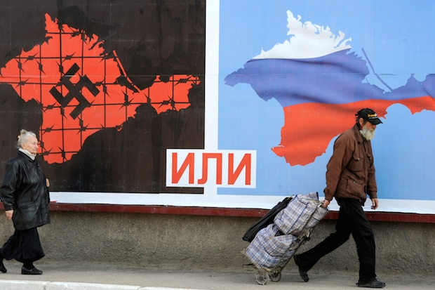 A poster in Sevastopol ahead of the Crimea referendum this month. VIKTOR DRACHEV/AFP/Getty Images