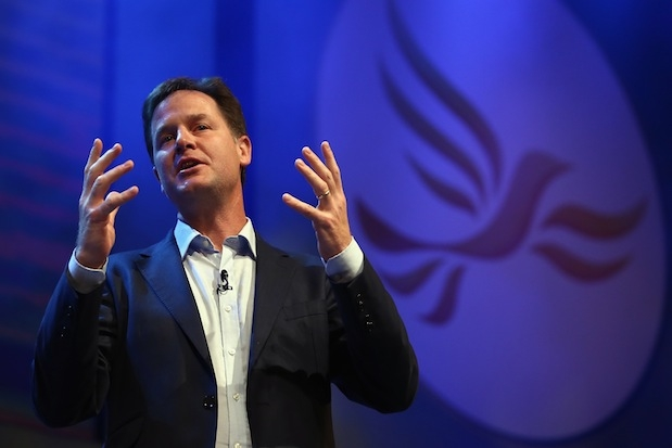 Nick Clegg at Lib Dem's annual conference in Glasgow. Photo: Getty Images.