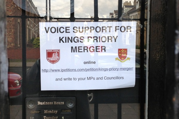 Posters in Tynemouth shops supporting the new Kings Priory Academy. Photo: Sebastian Payne.