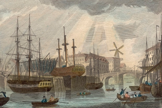 Hull docks circa 1829. It doesn't look like that now.