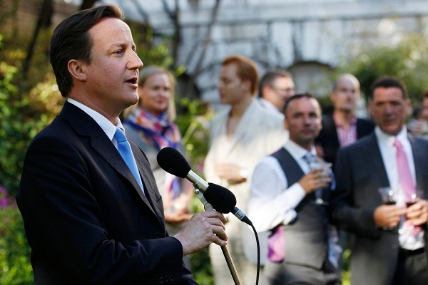 David Cameron addresses guests at a Gay Pride reception in Downing Street in 2010. He did not mention gay marriage at a Tory function last night. Image: Getty