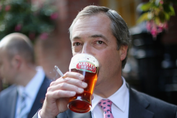 Nigel Farage. No prizes for guessing what his desert island luxuries might be. Image: Getty
