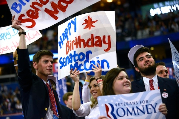 Senator John McCain celebrated his 76th birthday at the Republican National Convention last night. Picture: Getty.