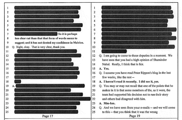 Redacted sections of a transcript of Jeremy Paxman giving evidence to the Pollard Review.
