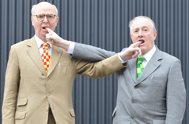 Gilbert and George have not engaged in equal-opportunity blasphemy.  Not by a long shot. (JOHN MACDOUGALL/AFP/Getty Images)