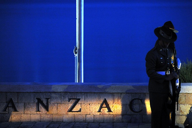 Australian soldiers stand guard as hundreds of Australians and New Zealanders attend a dawn ceremony at Anzac Cove, Gallipoli, in 2009. (Image: Getty)
