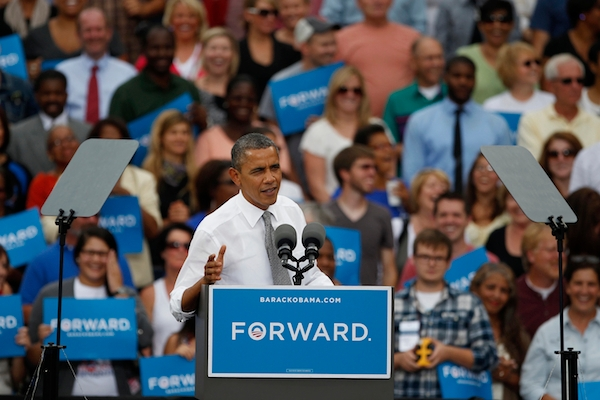 Barack Obama campaigns in Ohio, a key states in this year's US Presidential election. Picture: Getty Images