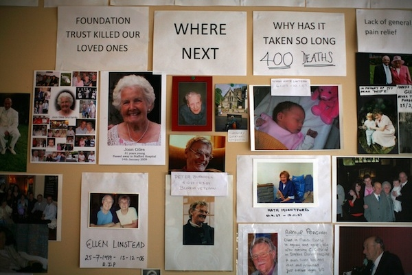 A memorial gallery of patients who died at Stafford General Hospital. Picture: Getty