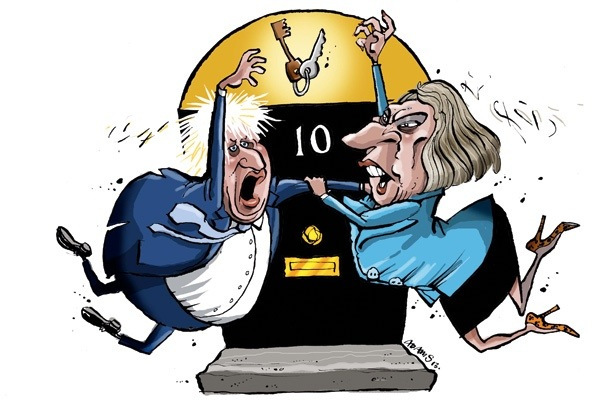 The battle to succeed Cameron: will it be Boris or Theresa? Illustration: Christian Adams.