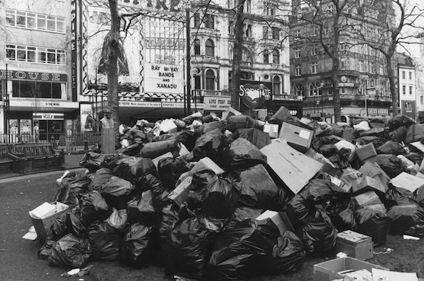 A pile of rubbish in Leicester Square during a refuse collection strike in 1979. Picture: Getty