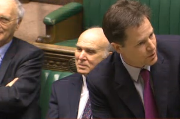 Nick Clegg takes another miserable battering at DPMQs as Vince Cable and Sir George Young watch.