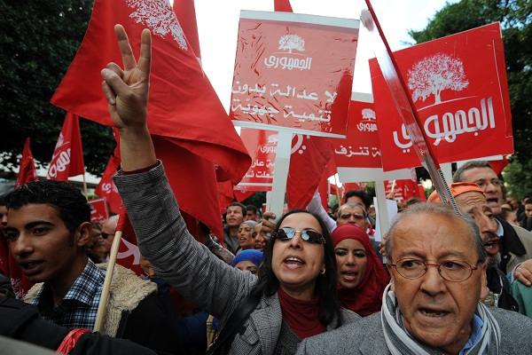 Tunisians demonstrate outside the Interior Ministry recently after a spate of Islamist attacks across the country. Image: Getty.