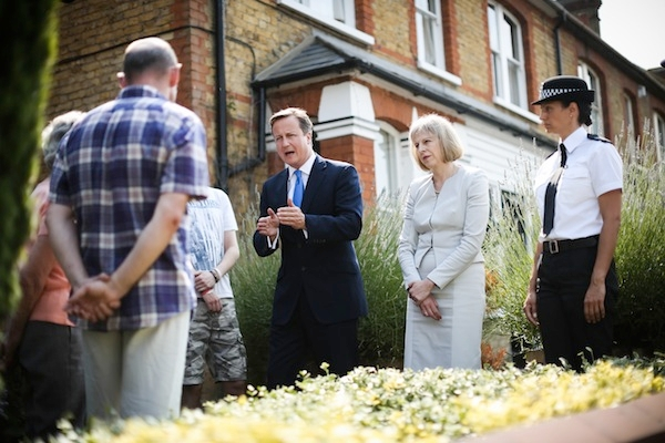 Cameron And Theresa May Visit Hertfordshire After Results Show A Reduction In Crime In The UK