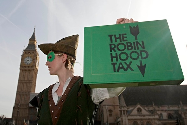 A protestor from the 'Robin Hood Tax Cam