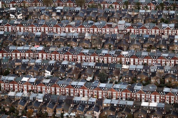 An aerial view of housing in London. Image: Getty