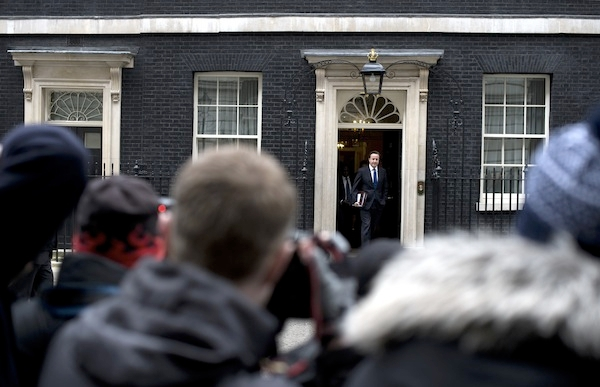 David Cameron leaves Downing Street this morning ahead of the Budget. Picture: Getty