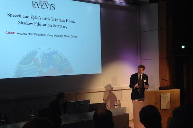 Tristram Hunt at the Spectator schools conference this morning.