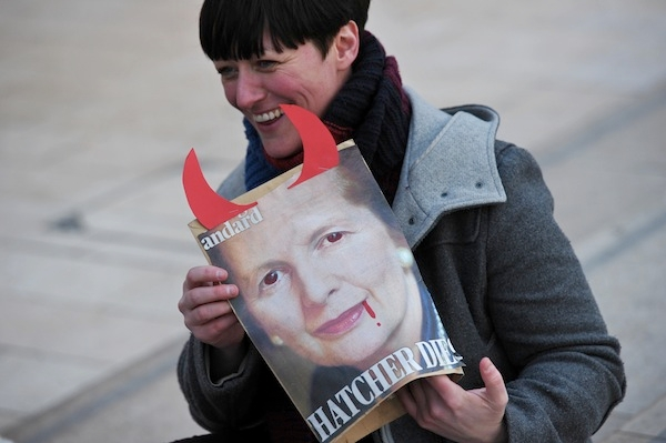 Not everyone was praising Margaret Thatcher yesterday. Photo: CARL COURT/AFP/Getty Images